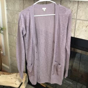 JCrew button down, long lilac colored cardigan